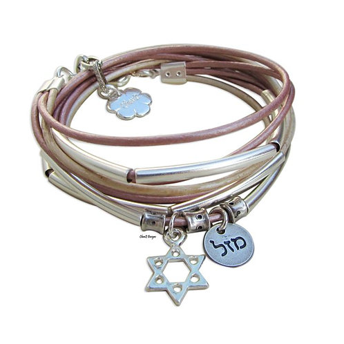 pink leather bracelet. layered leather wrap bracelet.  Star of David bracelet. Hebrew luck symbol  bracelet