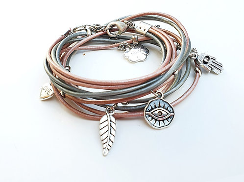 Leather wrap bracelet with silver evil eye and Hamsa