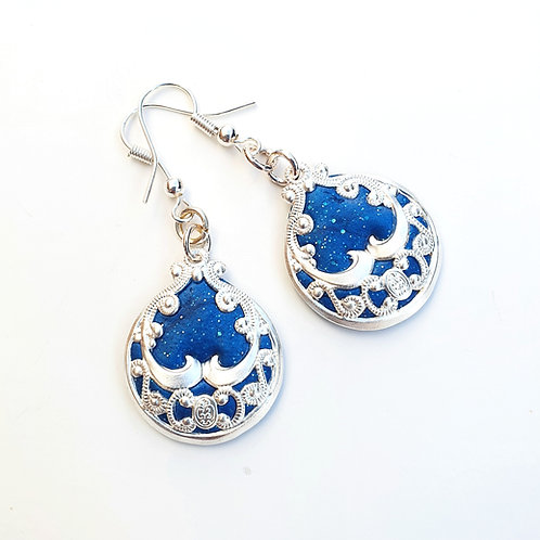Silver lace round turquoise dangle earrings