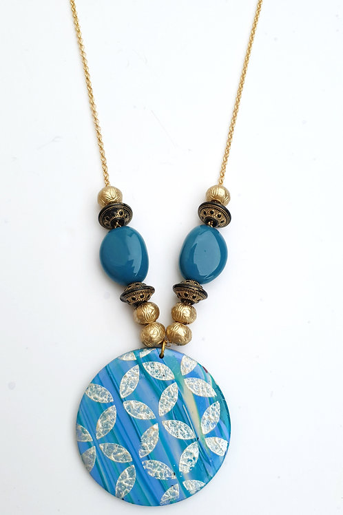 Handmade turquoise round pendant long necklace