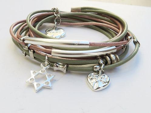 pink leather bracelet. layered leather wrap bracelet. silver tubes wrap bracelet. Star of David bracelet