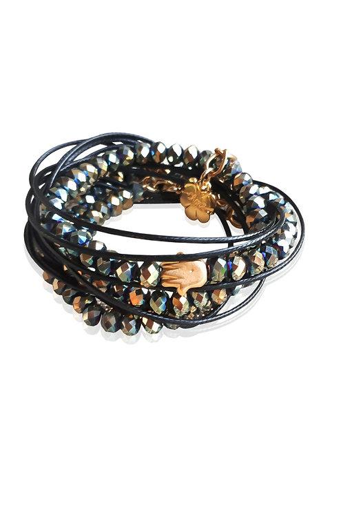 black crystals wrap bracelet, gold Hamsa good luck bracelet adjustable