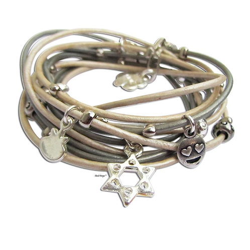 silver Star of David bracelet. leather wrap bracelet. Jewish bracelet. Bath Mitzva bracelet