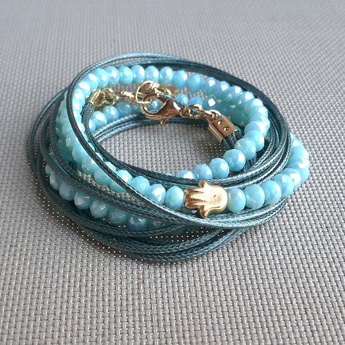 gold Hamsa adjustable bracelet / crystals wrap bracelet / Jewish bracelet / luck bracelet