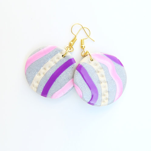 Pink polymer clay round dangle earrings