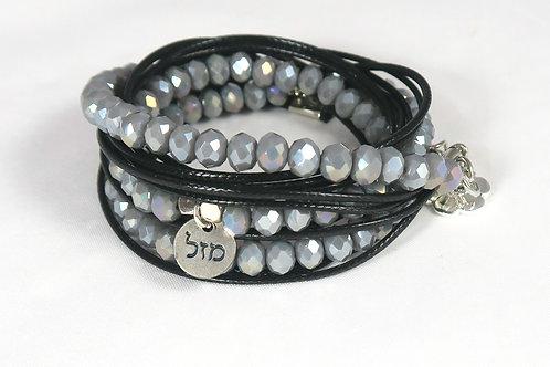 silver luck bracelet. Hebrew luck symbol. Bat Mitzvah bracelet. crystals bracelet