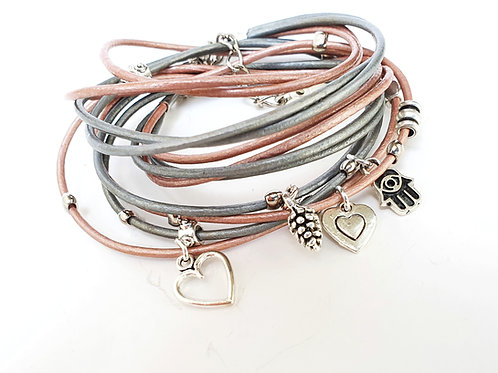Light pink leather wrap bracelet with charms