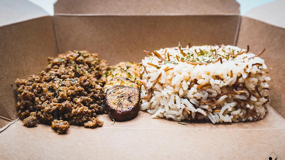 Ground Turkey, White Rice & Sweet Plantains
