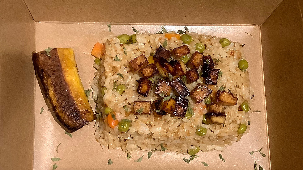 Vegan Fried Rice, Baked Tofu, Sweet Plantain