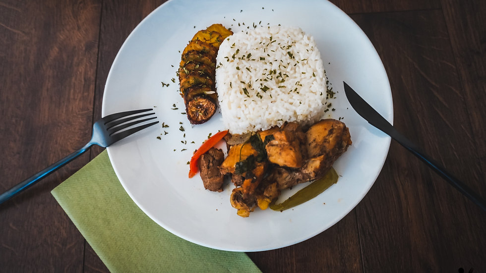 Dominican Style Stew Chicken, White Rice, Sweet Baked Plantains