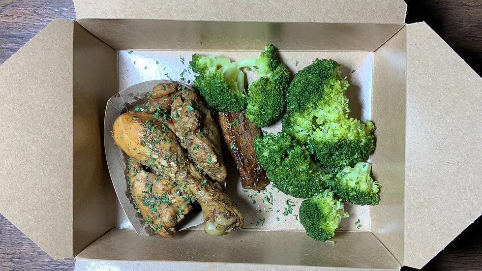 Stewed Chicken, Broccoli, Sweet Plantain