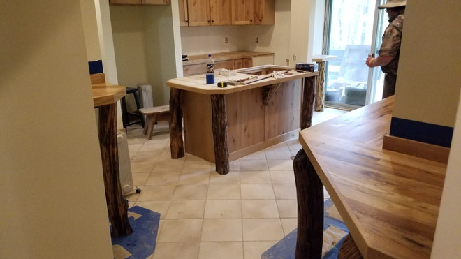 Lower Level Kitchen with Locust support posts