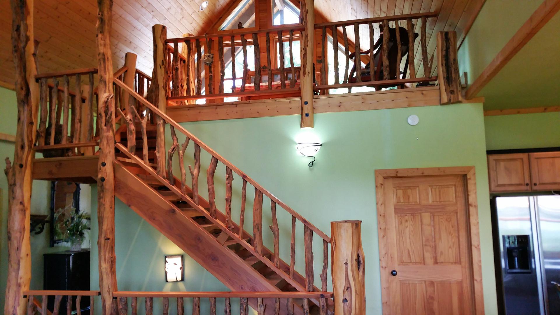 Main Level Locust Stairs & Handrail