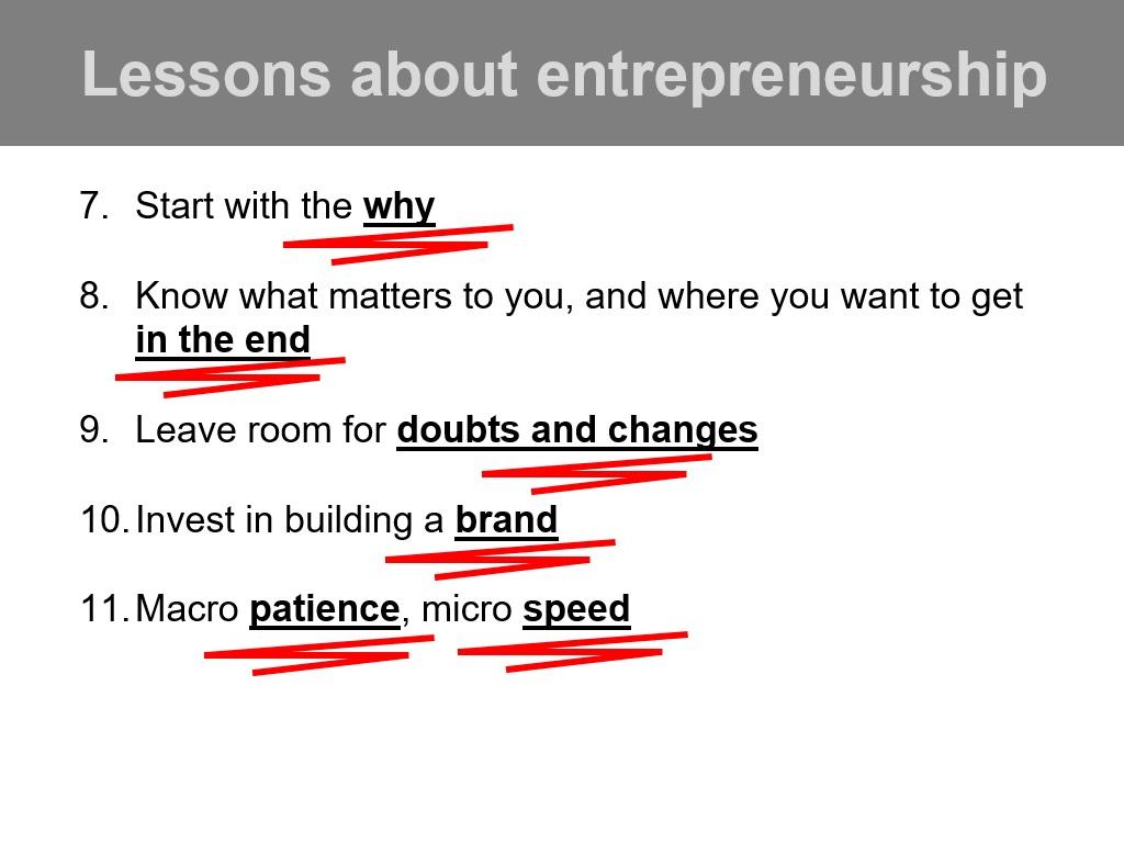 Lessons about Entrepreneurship