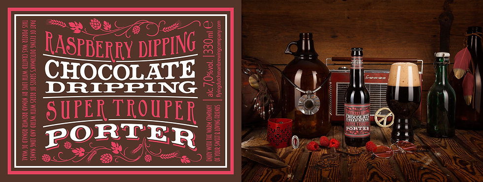 Raspberry Dipping Chocolate Dripping Super Trouper Porter. Award Winning Porter brewed with fresh raspberries.