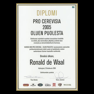 Ronald's award for his work to build up the beer culture in Finland