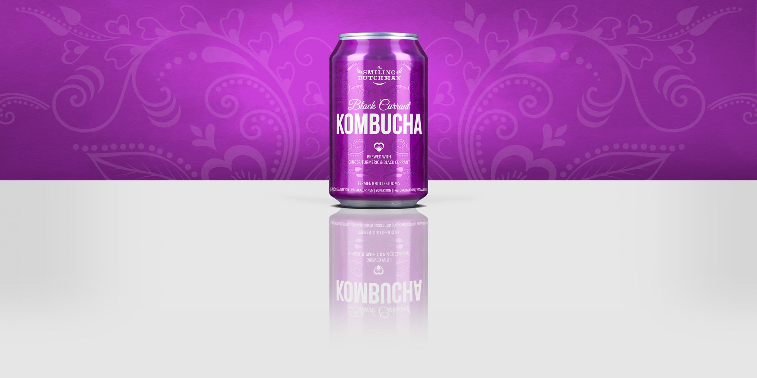 The Smiling Ductman Kombucha filled in a 33 cl can. Sugar-free Kombucha