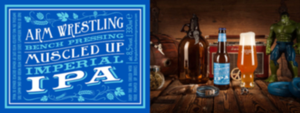 Arm Wrestling Bench Pressing Muscled Up Imperial IPA. Award winning IPA.