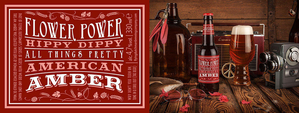 Flower Power hippy dippy all things pretty American Amber. Brewed with hibishcus flowers by The Flying Dutchman Nomad brewing company.