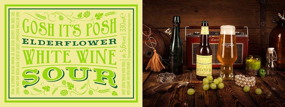 Gosh it's posh elderflower white wine sour. Award winning sour brewed with white wine grapes and elderflowers.