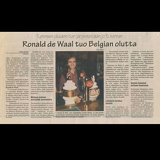 Ronald in the newspaper in Finland. Bringing Belgium beer to Finland.