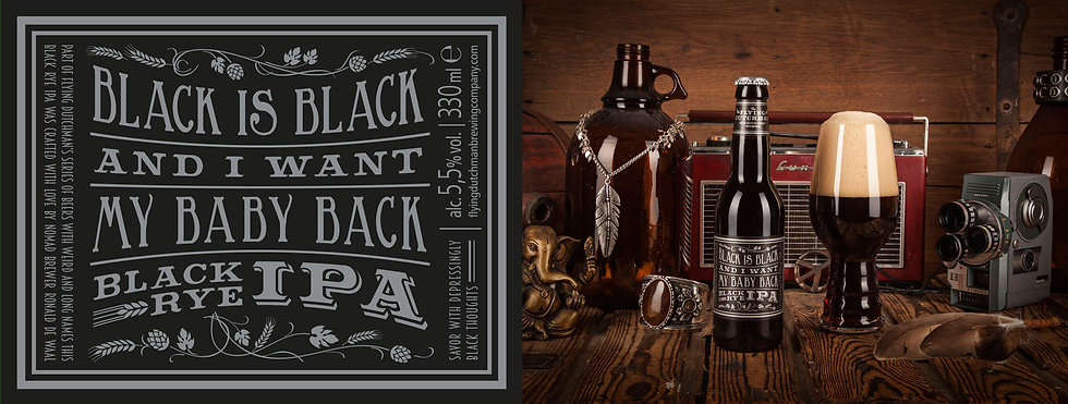 Black Is Black And I Want My Baby Back. Black IPA brewed with rye malt. Award winning black IPA