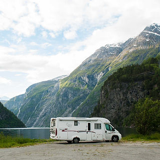 The NoMad camper in a beautiful fjord in Norway