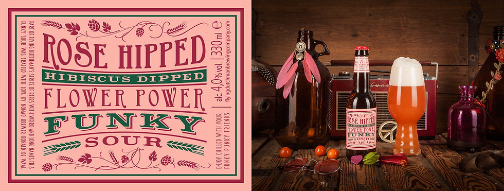 Rose hipped hibiscus dipped flower power funky sour. Award winning sour brewed with rose hip and hibiscus.