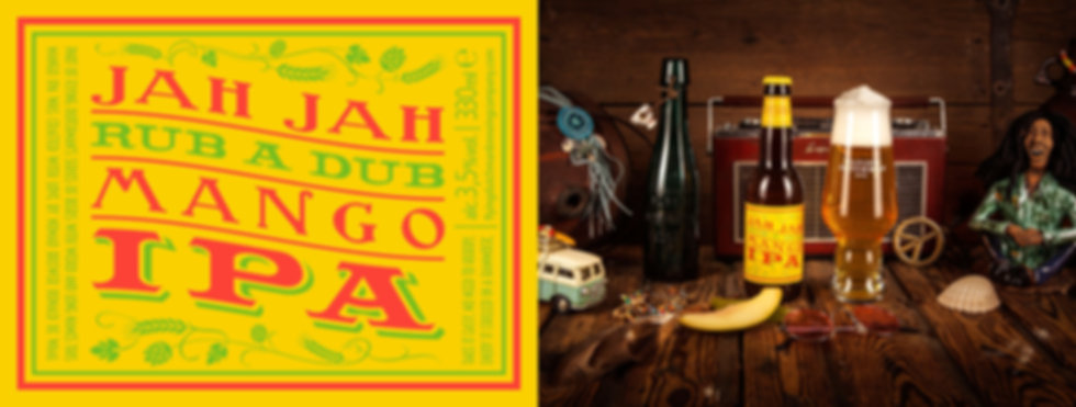 Jah Jah Rub A Dub Mango IPA brewed with mangos and fresh hops. Award winning session IPA