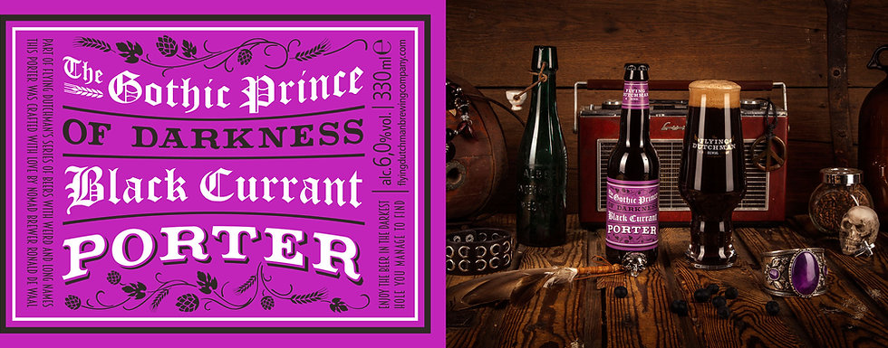 The Gothic Prince Of Darkness Black Currant Porter. Award winning porter brwed with black current and dark chocolate.