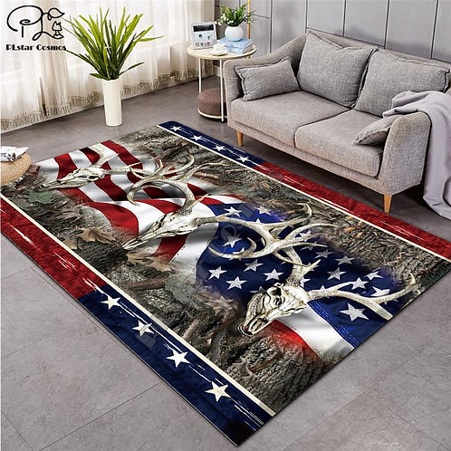 American Flag Deer 3D Carpet for Living Room