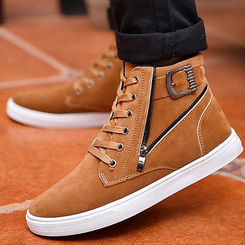 Ankle Boots for Men Buckle Zipper Designer