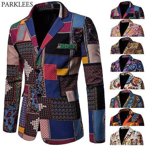African Print Blazer Suit Cotton Linen for Men 4XL