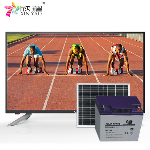 Cheap price energy-saving solar power tv and radio 12v dc led tv