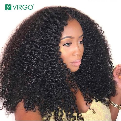 Afro Kinky Curly Wig Natural 1B Lace Front Human Hair Wigs
