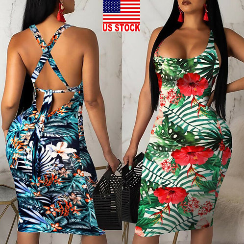 Sexy Sling Hawaiian Dress Plus size