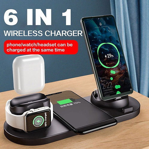 Wireless Charger Station 6 in 1 for Iphone  Apple Watch Airpods Charging