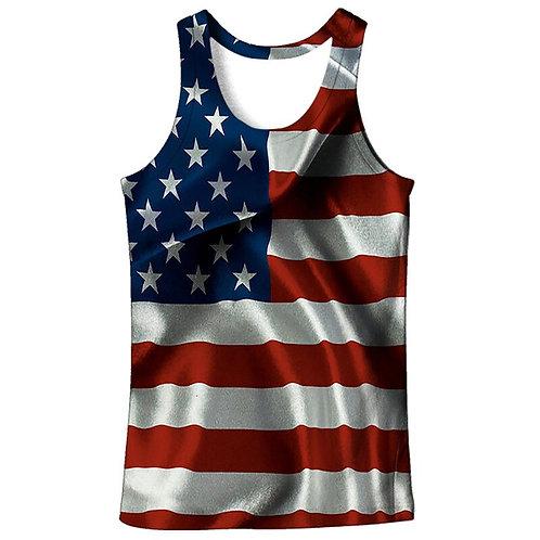 American Flag Printed  Vest for Men