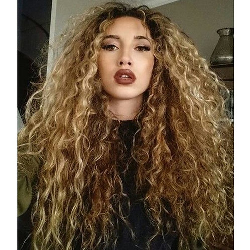 26 inch Long Wavy Curly Wig Mixed Color Wigs Synthetic Blonde Wig for Fashion Wo