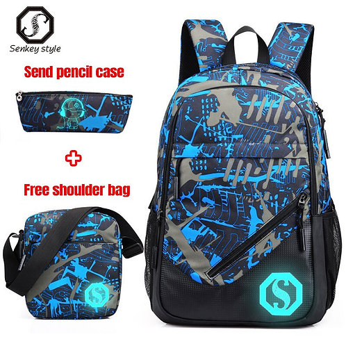 3pcs/Sets Men  Backpack Teenage School Bags Girls Boys