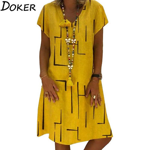 Large Size Beach  Yellow Dress