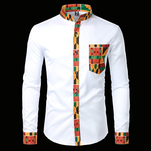 African Dashiki Tribal Graphic Patchwork Shirts Slim Fit