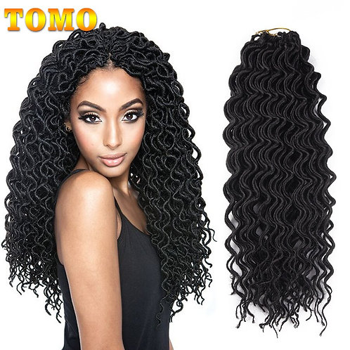 Curly Faux Locs Crochet Hair 18Inch Synthetic Extensions