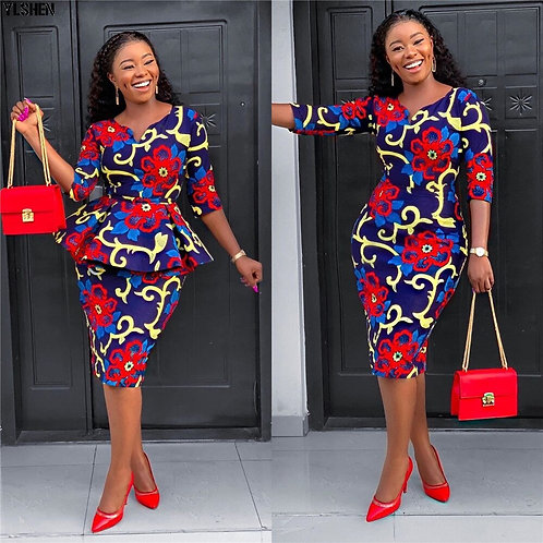 African Dresses for Women 2 Piece Set Dashiki Print