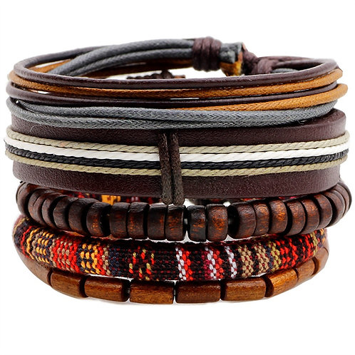 4 Pcs/Set Handmade Women Men Leather Bracelets