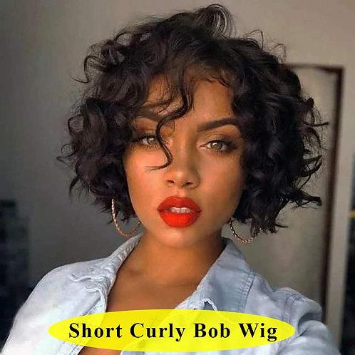 Curly  Brazilian Human Hair Wigs 150% Short