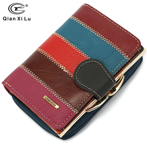 100% Real Leather Wallets for  Women Zipper&Hasp Coin