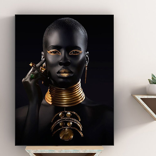 African Art Black and Gold Woman With Necklace Wall Picture Living Room