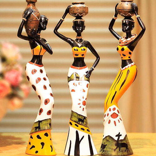 African Woman in Resin Statues for Decoration Sculpture