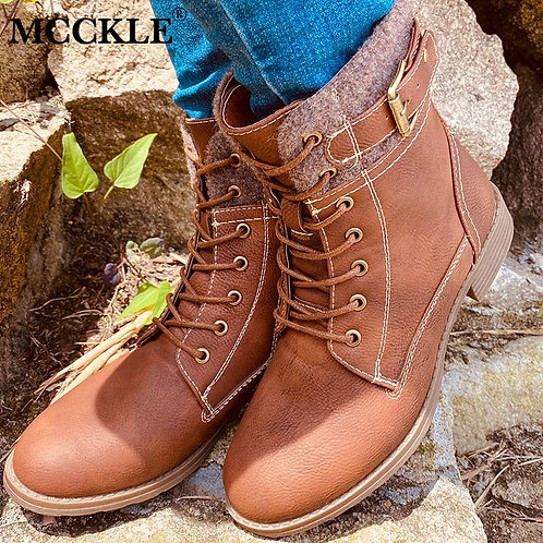 Ankle Boots for Women Leather Shoes Sewing Platform Lace Up Ladies Female